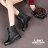 格子舖*【AR809】晴雨兩穿2ways 韓版質感霧面消光超防水PVC 綁帶低粗跟雨鞋/雨靴 馬丁靴 機車靴 黑色 2