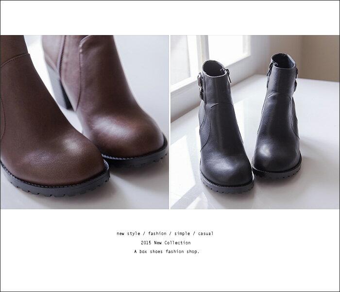 格子舖*【KW2191】MIT台灣製 時尚流行金屬扣環 質感皮革 拉鍊粗高跟短靴 馬丁靴 2色 2