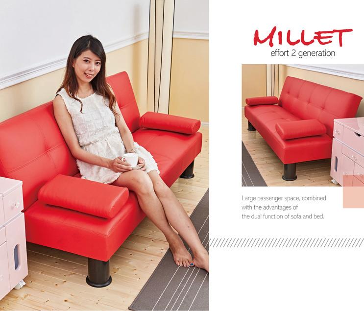 【Millet 小米心機 II代】 皮革多人座優質沙發床(升級加贈兩個抱枕) ★班尼斯國際家具名床 4