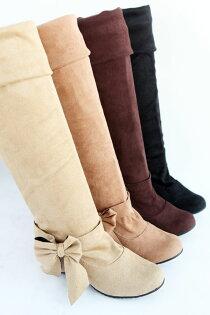多穿法磨砂蝴蝶結內增高過膝長靴騎士靴-黑/米/棕/黃31-43【no-41181520572】