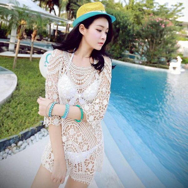 PS Mall 韓版蕾絲鏤空鉤花網狀長袖罩衫 比基尼防曬罩衫【T323】