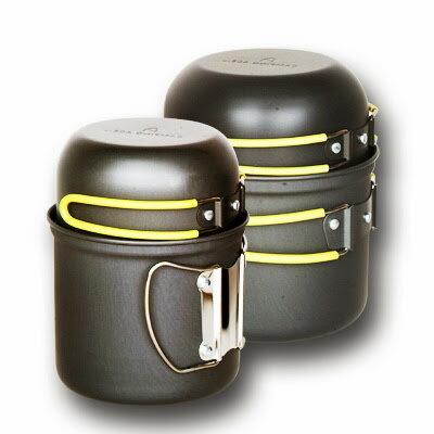 ARC-510 雙人硬質氧化套鍋/黑鋁鍋/登山鋼杯 兩鍋兩碗組
