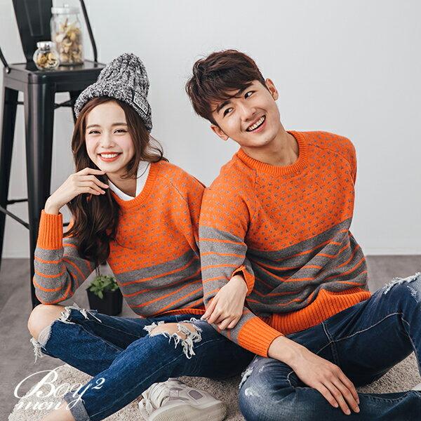 ☆BOY-2☆【OE812】情侶裝針織衫拼接條紋毛衣 3