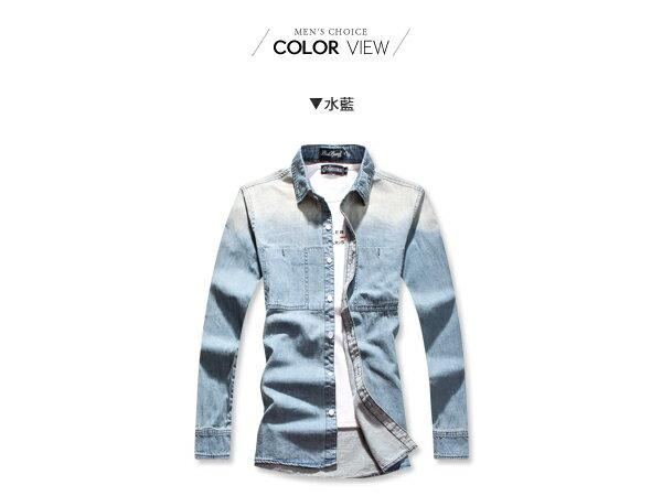 ☆BOY-2☆【NC4015】潮流水洗刷色仿舊牛仔襯衫 2