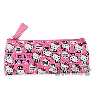 〔小禮堂〕Hello Kitty 皮質拉鍊筆袋《粉.坐姿滿版.對話框》也可當化妝包