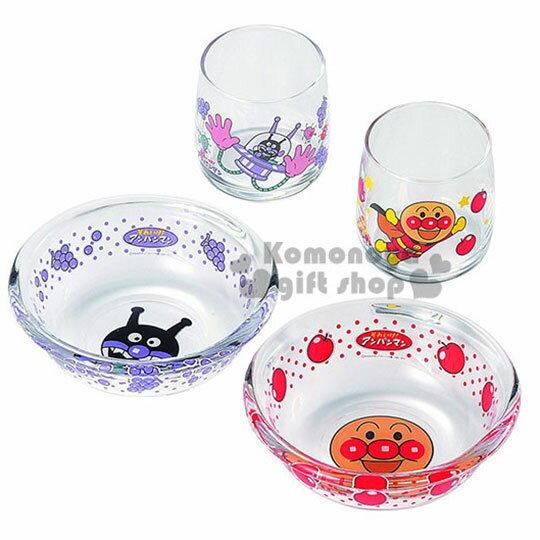 〔小禮堂〕麵包超人 日製玻璃杯碗組~4入.透明.水果~可愛待客體面