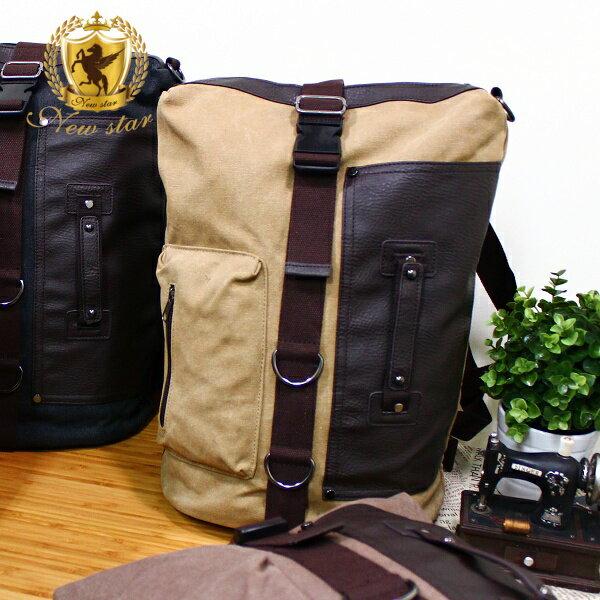 後背包 極簡韓風配皮提把帆布包拳擊包側背包 NEW STAR BK155