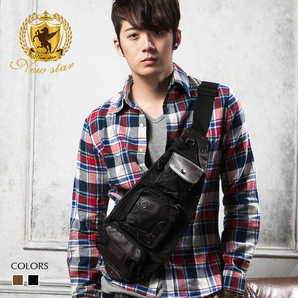 側背包 韓風尼龍配皮單肩背包後背包腰包 NEW STAR BK77
