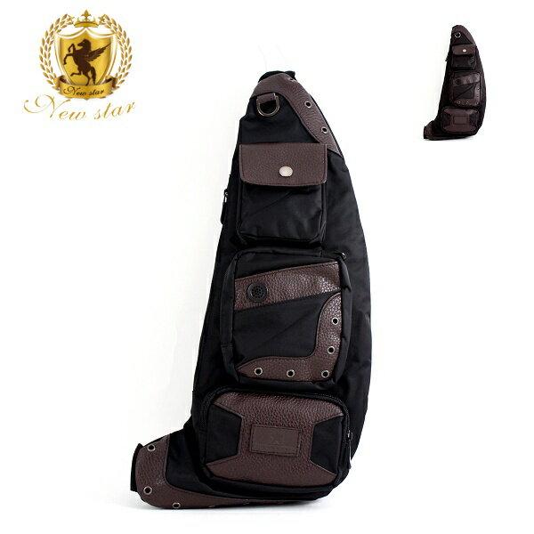 斜背包 韓風尼龍配皮側背包後背包腰包單肩背包 NEW STAR BK77