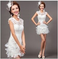 時尚洋裝 小禮服推薦到天使嫁衣【AE7100】白色蕾絲包肩修身花片短禮服˙預購訂製款