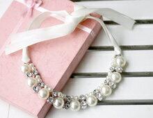 天使嫁衣~AE4350~絲帶綁結珍珠項鍊˙