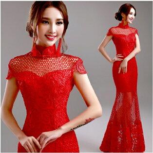 天使嫁衣【AE081】紅色鏤空魚尾改良式旗袍長禮服˙預購訂製款