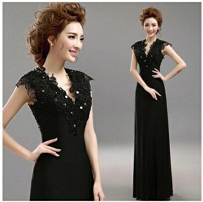 天使嫁衣【AE476】黑色V領立體蕾絲珠花高貴晚禮服˙預購訂製款