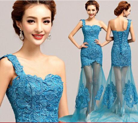 天使嫁衣【AE5511】藍色單肩下擺透視拖尾晚禮服˙預購訂製款