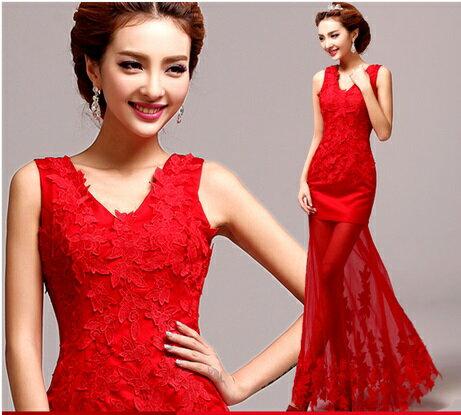 天使嫁衣【AE5519】紅色性感人魚透視裙擺晚禮服˙預購訂製款