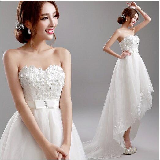 天使嫁衣【AE8271】美胸高腰前短後長造型婚紗禮服˙預購訂製款