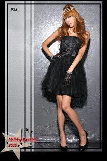 天使嫁衣【HL933】黑色蕾絲搭網紗平口洋裝小禮服˙預購+現貨