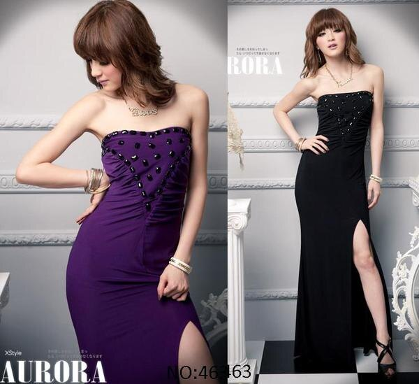 天使嫁衣【HL463】2色平口開高叉極性感長洋裝禮服˙預購