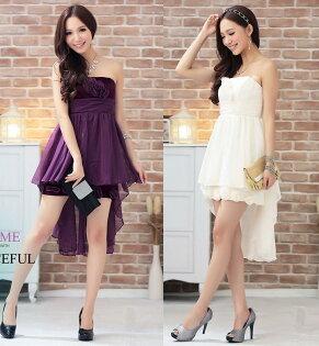 天使嫁衣【HL2293】2色中大尺碼雪紡搭綢緞前短後長洋裝小禮服-預購訂製款