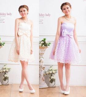 天使嫁衣【HL2315】2色中大尺碼仿綢緞大蝴蝶結腰飾洋裝小禮服-預購訂製款