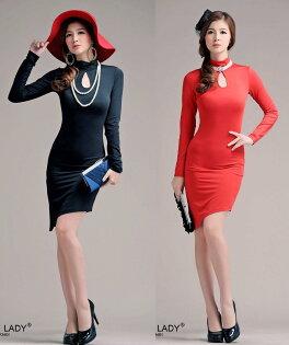 天使嫁衣【HL8001】2色水晶棉純色斜裙擺洋裝小禮服˙預購