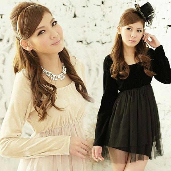 天使嫁衣【HL2215B】2色大尺碼甜美絲絨長袖洋裝小禮服˙預購