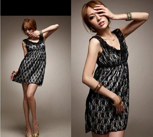 天使嫁衣【HL636B】大尺碼氣質荷葉領鬆緊腰蕾絲洋裝小禮服˙預購