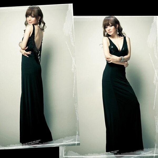 天使嫁衣【HL653】中大尺碼V領大露背長洋裝禮服-預購訂製款+現貨