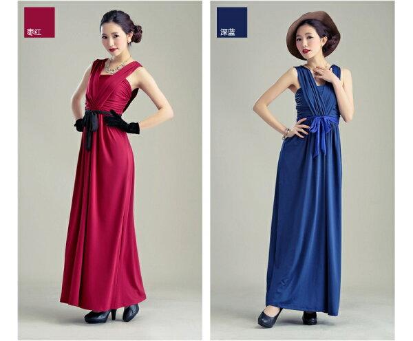 天使嫁衣【HLWM8018】暗紅色中大尺碼高貴氣質前後大V撞色腰帶性感長洋裝禮服-預購