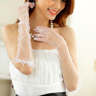 天使嫁衣【J2K1002】3色白色婚紗禮服防曬網紗配飾長手套-預購