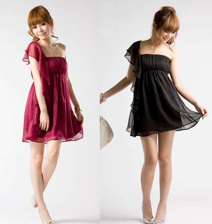 天使嫁衣~J2K1666~2色單肩雪紡洋裝小禮服˙