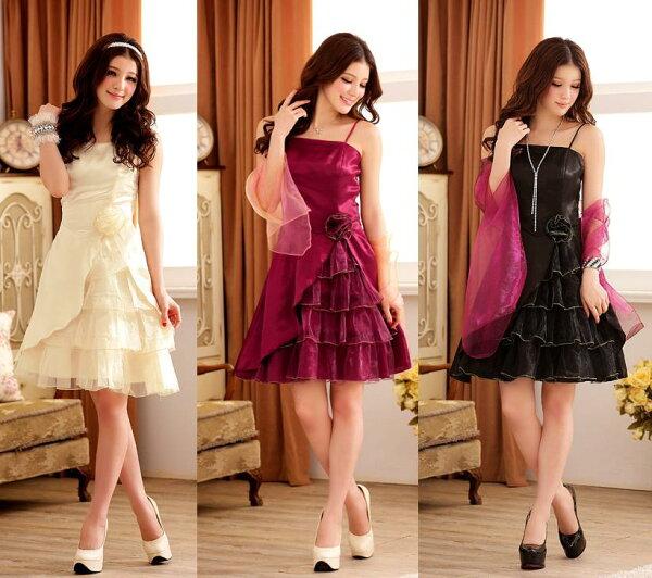 天使嫁衣【J2K3104】3色公主宮廷盛宴多層荷葉擺吊帶洋裝小禮服˙預購