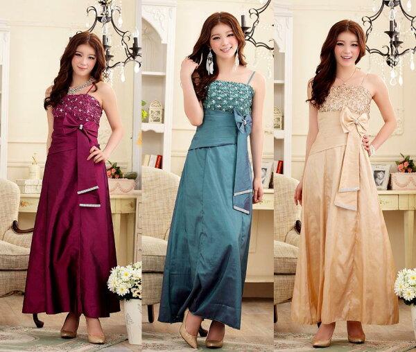 天使嫁衣【J2K3419】3色中大尺碼端莊優雅蕾絲水鑽修身長洋裝禮服-預購