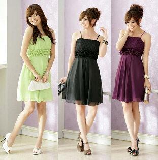 天使嫁衣【J2K8300】2色譁然出眾精彩亮相高貴壓褶雪紡吊帶洋裝小禮服˙預購
