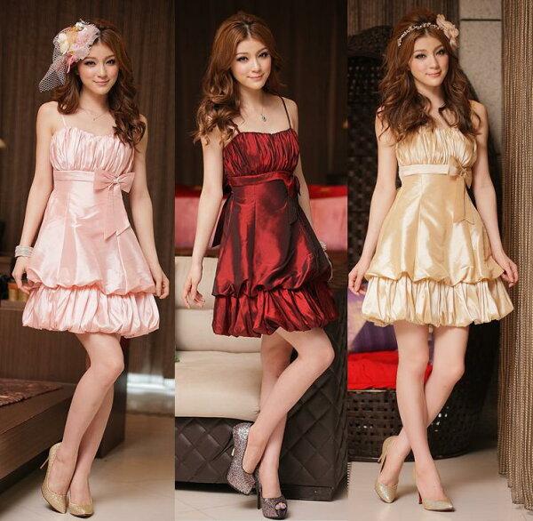 天使嫁衣【J2K8419】3色公主嬌悄迷人吊帶燈籠洋裝小禮服˙預購