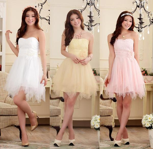 天使嫁衣【J2K9103】3色浪漫蜜月花蕾顯瘦不規則下擺末胸洋裝小禮服˙預購