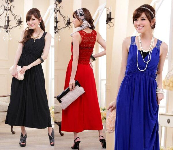 天使嫁衣【J2K9112】3色時尚V領蕾絲控顯高針織長洋裝禮服-預購