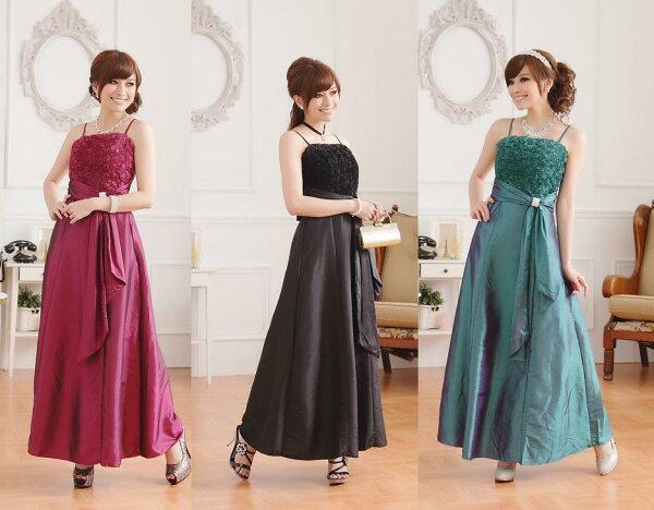 天使嫁衣【J2K9700】3色氣質玫瑰修身顯瘦鑽扣長禮服˙預購