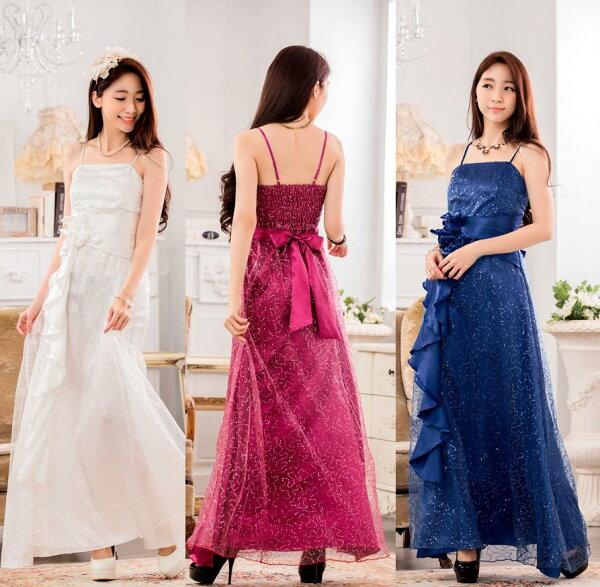 天使嫁衣【J2K9929】3色時尚滿天星亮片長洋裝禮服-預購