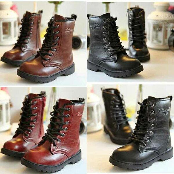 天使嫁衣【LA410】3色中性款高筒側拉鏈親子鞋馬丁靴親子鞋-現貨特價出清