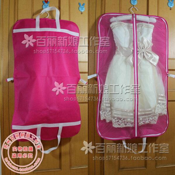 天使嫁衣【PL007】玫紅底白邊條小禮服專用手提兩用防塵袋-預購