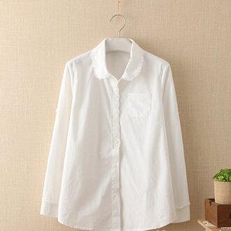 森女系可愛蕾絲花邊娃娃領純白長袖襯衫