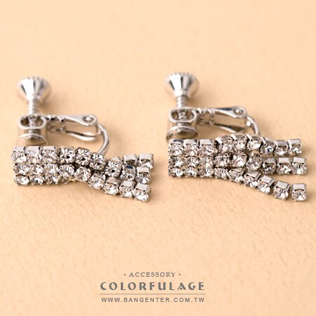 夾式耳環 3排方型水鑽 經典流蘇造型耳夾 簡約韓風單品 柒彩年代【ND336】一對 0