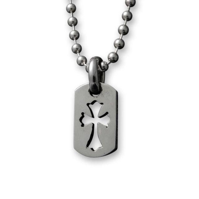 【海外訂購】【Chrome Hearts】迷你十字架鏤空純銀軍牌項鍊 Tiny cut out cross (CHDT-030 0310950000) 1