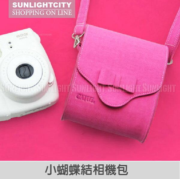 日光城。小蝴蝶結相機包,拍立得包 桃紅色 可裝mini25 mini50s mini8 RX100 ZR1500