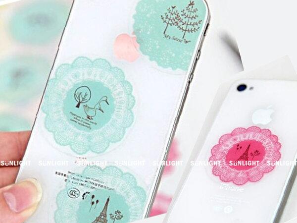 日光城【唯美圓形蕾絲貼紙5237】手機裝飾創意貼 貼畫 封口貼 4款 透明裝飾貼