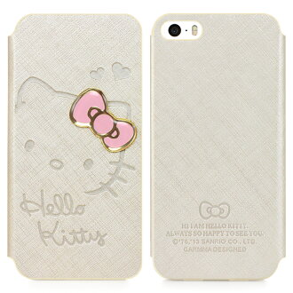 日光城。GARMMA Hello Kitty iPhone 5/5S 側掀式皮套-甜心金