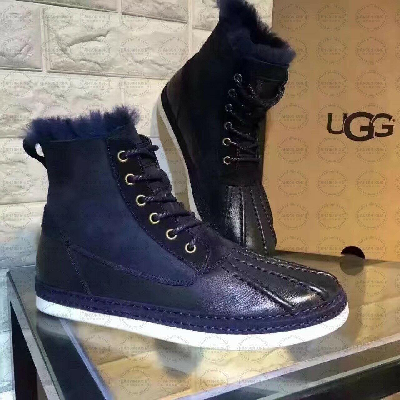OUTLET正品代購 澳洲 UGG 冬季男款貝殼頭馬丁靴 短靴 保暖 真皮羊皮毛 雪靴 短靴 深藍 0