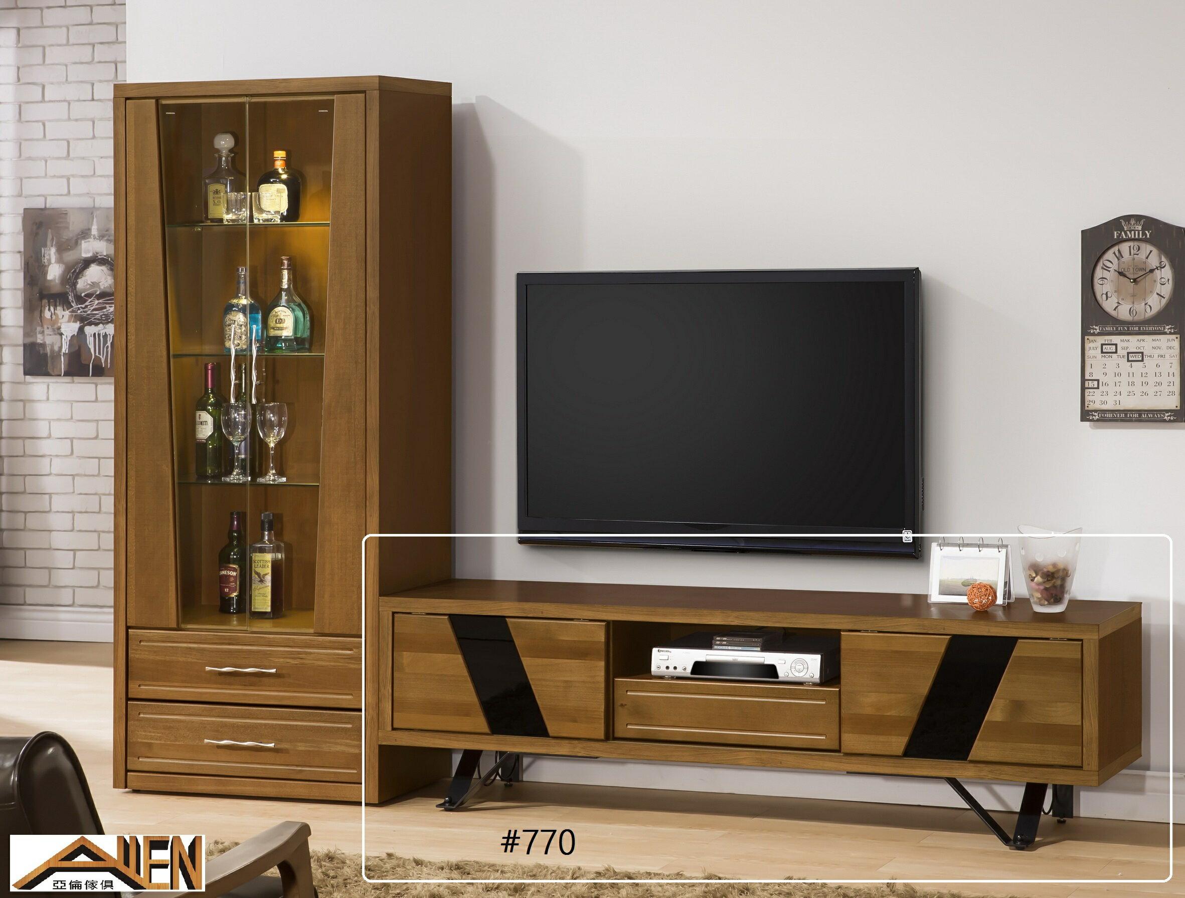 亞倫傢俱*文森卡索南洋檜實木6尺電視櫃 (烤漆鐵腳) - 限時優惠好康折扣