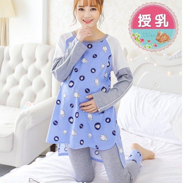 *漂亮小媽咪*LOVE晴天娃娃印花拼接撞色純棉長袖孕婦裝睡衣哺乳套裝哺乳衣月子服 T076